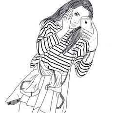 dessins de fille tumblr  | ... , dessins, fille, filles, grunge, iphone, téléphones, Tumblr, blanc