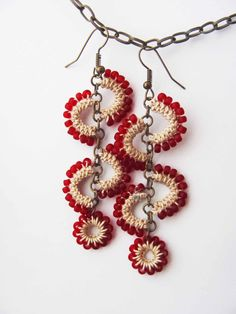 Frosted red beads and cream cotton crochet earrings in unique original design, summer whimsy, long dangle, beaded, playful boho feminine Crochet Jewelry Patterns, Crochet Earrings Pattern, Bead Crochet, Crochet Accessories, Crochet Crafts, Crochet Necklace, Tatting Earrings, Tatting Jewelry, Bead Earrings