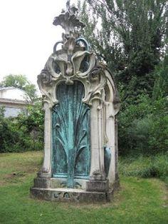 Art Nouveau funerary monument in the garden of the Musée de l'Ecole de Nancy