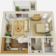 Pelan rumah comel Studio Apartment Furniture, Studio Apartment Floor Plans, Studio Apartment Design, Design Studio, House Design, Small Apartment Layout, Small Apartment Interior, Small Apartments, Studio Apartments