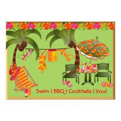 Shop Adult Pool Party BBQ Cocktails Invitation created by decembermorning. Pool Party Birthday Invitations, Cocktail Party Invitation, Invites, Adult Pool, Game Night Parties, Bbq, Cocktails, Flip Flops, Party Fun