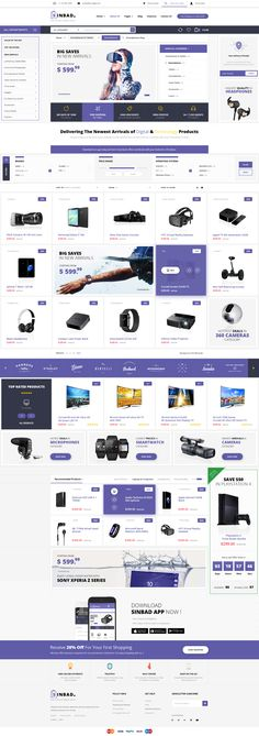 Buy Sinbad - Electronics eCommerce PSD Template by Qartal on ThemeForest. Description Sinbad is a modern PSD template designed for Electronic eCommerce and other store projects, it's exactly . Ecommerce Website Design, Website Design Layout, Web Layout, Layout Design, Web Graph, Psd Templates, Ecommerce Template, Dashboard Design, Landing Page Design
