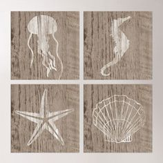 Seascape 4 Piece Wood Wall Art Collection Set