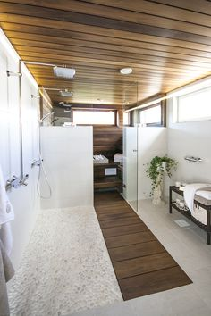 sauna in Master bedroom with wood detail