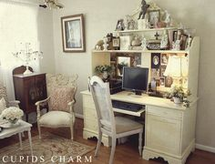 shabby chic vintage style office space with hutch style desk and chairs studio chic office desk hutch