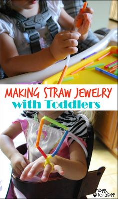 Toddler Activity: Making Straw Jewelry - Such a fun fine motor experience for toddlers!
