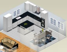 l shaped island ideas | Small Kitchen Plans - L-Shaped Kitchen Plan
