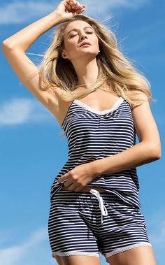 ROMINA - Estilo de verão sem complicações! Meia malha listrada com acabamentos de renda de algodão exclusiva.