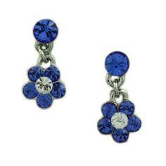RSN320EBL-Blue Crystal Dangling Daisy Pierced Earring