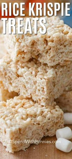 Extra Chewy Rice Krispie Treats {Simply Delicious} – Spend With Pennies These homemade rice krispie treats couldn't be easier or more delicious. They're great for bake sales and an easy rice krispie treat recipe that kids love! Köstliche Desserts, Delicious Desserts, Dessert Recipes, Yummy Food, Homemade Rice Krispies Treats, Rice Krispy Treats Recipe, Original Rice Krispies Recipe, Best Rice Crispy Treat Recipe, Rice Crispie Bars Recipe