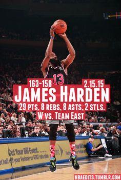 James Harden - 2.15.15 - W vs. Team East - http://nbafunnymeme.com/nba-best-players-of-the-day/james-harden-2-15-15-w-vs-team-east