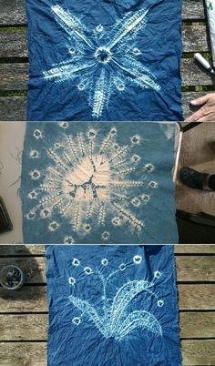 Wonderful Shibori pieces made on a workshop run by Annabel Wilson