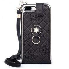 Funda iPhone 8 Plus negro. Piel Genuina y cordón. Finger 360 #funda #grabado #anticaidas #anillo #Finger360 #logo #negro #8plus #iphone8plus
