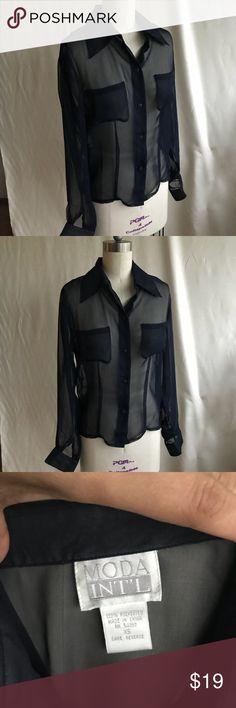 MODA INT'L chiffon shirt collar Navy XS Exc MODA INT'L chiffon Sexy blouse long sleeves shirt collar Navy XS Excellent Moda International Tops Blouses