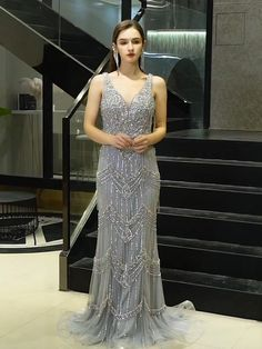 Luxury Gray V-Neck beading Evening gown+Feathers Shawl. Processing time 30 business days after payment . Long Evening Gowns, Mermaid Evening Dresses, Quinceanera Dresses, Homecoming Dresses, Wedding Dresses, Godmother Dress, Junior Formal Dresses, Cinderella Dresses, The Dress