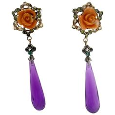 Luise Coral Amethyst Sapphire Diamond Silver Gold Dangle Earrings | From a unique collection of vintage dangle-earrings at https://www.1stdibs.com/jewelry/earrings/dangle-earrings/
