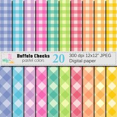 Buffalo Checks Digital Paper Set, Pastel Plaid Digital Scrapbook papers, Plaids Lumberjack Checks Geometric papers, Instant Digital Download by VRDigitalDesign on Etsy