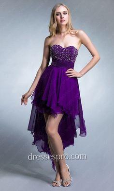 Strapless High Low Chiffon Prom Dress DRP0028