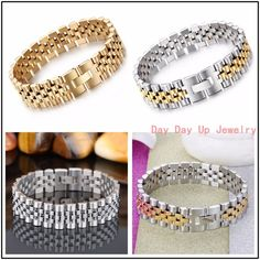 "8""*15mm 41g Fashion Jewelry 316L Stainless Steel Silver Gold Curb Chain Biker Chain High Quality Mens Womens Bracelet Bangle New"