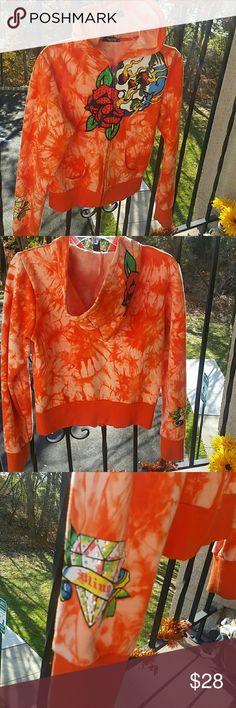 Zipup tie-dye sweathood with rhinestones Orange tie-dye zipup sweathood with rhinestones on designs in the front and the sleeve. Tops Sweatshirts & Hoodies