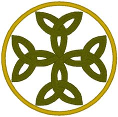 Carolingian Cross Embroidery Design. This Cross is a series of four intertwined Celtic trinity knots (Triquetra), each knot reminding us of the Holy Trinity. The circle around this Cross symbolizes the fact that God is eternal - without beginning and without end.  Named after the Carolingian Dynasty of France.