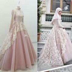 Dusty Pink Muslim Evening Dresses High Neck Long Sleeves Lace Tulle Prom Gowns - Evening Gowns - Ideas of Evening Gowns Dress Brokat Muslim, Muslim Prom Dress, Muslim Evening Dresses, Muslimah Wedding Dress, Gold Evening Dresses, Muslim Wedding Dresses, Mermaid Evening Dresses, Bridal Dresses, Evening Gowns