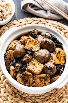 This vegetarian Braised Bean Curd and Mushroom recipe will be your next family favorite! A delicious earthy sauce brings it all together for the perfect weeknight dinner. Vegetarian Stir Fry Sauce, Soy Sauce Stir Fry, Asian Tofu Recipes, Vegetarian Recipes, Mushroom Recipes, Vegetable Recipes, Asian Vegetables, Earthy
