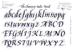 Calligraphy Alphabet; The Chancery Italic hand