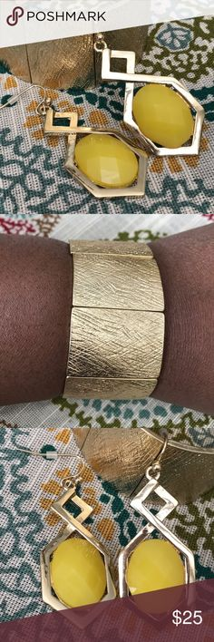 "Bracelet Set D.Green Designs gold tone metal stretch bracelet paired with Chic Gallery 2""L gold tone metal pierced earrings. D.Green Designs Jewelry Bracelets"