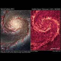 The image at left, taken in visible light, highlights the attributes of a typical spiral galaxy, including graceful, curving arms, pink star...