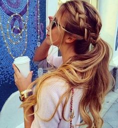 Triple+Braided+Low+Ponytail+with+Highlights+