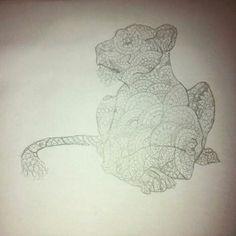 Tattoo design, mandala design lioness