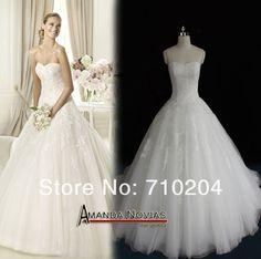 2015 OEM Factory Actual Real Photos Amanda Novias A-line Drop Waist Wedding Dress NS221