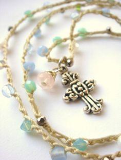 Beaded Crochet Cross Necklace Boho Shabby by TamiLopezDesigns, $22.00