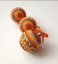 3 Crocheted Baubles in Orange and Green Shades, Christmas Tree Decorations, Home Decor, Holiday on Etsy, £10.00