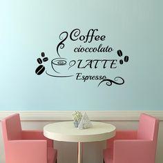 Wall Decals Coffee cioccolato Latte espresso  Decal Vinyl Sticker  Home Decor Kitchen  Interior Design  Cafe Restaurant Mural  MN53