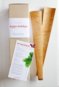 Hand crafted maple salad servers, complete with client's family recipe. Custom gift packaging made it easy for the client to ship nationwide as well as keep their branding consistent.
