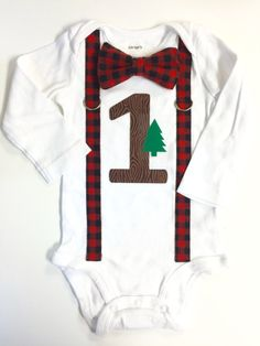 Lumberjack 1st Birthday Shirt. Black Red Plaid Flannel Check. Baby Boy 1st Birthday Outfit. Tree Woodland. 2nd 3rd 4th 5th