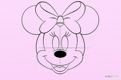 How to Draw Minnie Mouse. Minnie Mouse is Mickey's girlfriend. Drawing Cartoon Characters, Character Drawing, Cartoon Drawings, Easy Drawings, Minnie Mouse Template, Minnie Mouse Cake, Mini Mouse Drawing, Mouse Paint, Art Disney