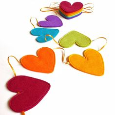 Ribbon and felt handmade heart bunting by be good, darcey | notonthehighstreet.com