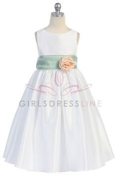 Flowergirl - white, green and peach