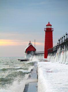 Frozen lighthouse, Grand Haven, Michigan