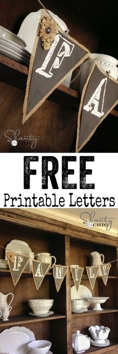 Super cute FREE Printable Banner Letters!  You can print any letter in the alphabet! by Tisha:)