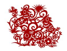 剪紙「三羊開泰」 Traditional Chinese, Chinese Style, Paper Cutting, Sheep, Paper Art, Folk, Artisan, Creema, Silhouette