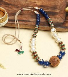 Beaded Jewellery , Beaded Necklace Designs, Short Beaded Necklace Designs, Blue…