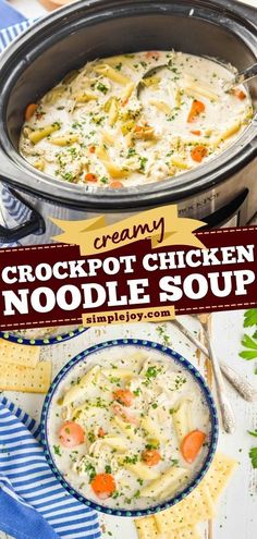 Nothing beats this slow cooker meal! You are only a few steps away from this homemade crockpot chicken noodle soup recipe that comes out deliciously thick and creamy. Save this chicken recipe for a… Slow Cooker Bacon, Slow Cooker Broccoli, Slow Cooker Soup, Slow Cooker Chicken, Slow Cooker Recipes, Crockpot Recipes, Slow Cooker Tortellini Soup, Creamy Tortellini Soup, Creamy Crockpot Chicken