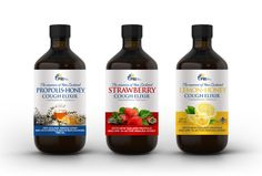 Redesign of an all natural Cough Elixir bottle label range (3 varieties). by imöeng
