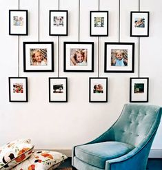 Photo display system is easy to change, without putting holes in wall. Decorated by Anne Turner Carroll and Katherine Cobbs. Photo by Jason Bernhaut for Cottage Living. by audrey Picture Wall, Photo Wall, Home Interior, Interior Design, Photo Deco, Wall Of Fame, Creation Deco, Cottage Living, Photo Displays
