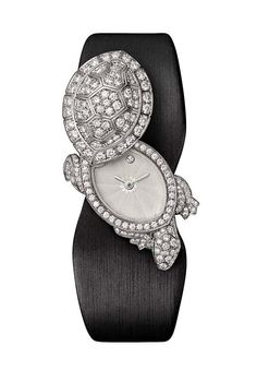 A diamond 'Fabuleux Tortoise' secret watch by Cartier; the tortoise symbolises slowness, but also steadiness.