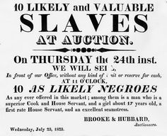 Slave Sales and Auctions African Coast and the Americas/Notice of Slave Auction, Richmond, Virginia, 1823